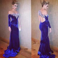 Wholesale Blue Crystal Evening Dress - Royal Blue Evening Dresses One Shoulder Beaded Crystal Velvet Long Sleeve Red Carpet Celebrity Dresses Party Gowns