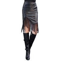 Wholesale Sexy Leather Skirt Woman - New Fashion Women PU Leather Skirt Elastic High Waist Leather Fringe Skirt Sexy Bodycon Pencil Skirt Black