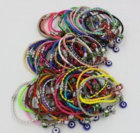 Wholesale Colored Resin Bracelets Wholesale - Hot ! 10pcs Colored Glaze Beaded Turkey eyes Charms Leatheroid Braided Magnetic force clasp Leather Bracelets 57 - color