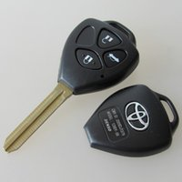 Wholesale Toyota Camry Key Buttons - New car key FOB cover for toyota 3 button remote key blank shell with TOY43 blade 25pcs lot free shipping