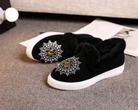 Wholesale black fd - 2017 Brand New Women's FD winter Matt skin sneaker lady warm fluffy rhinestone casual shoes color black drop shipping size 35-41