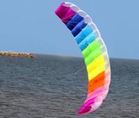 Wholesale Kite Big - free shipping high quality dual line1.4m parafoil kite with control bar line power braid sailing kitesurf rainbow sports beach