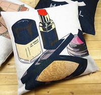 tampas decorativas da garrafa venda por atacado-Maquiagem Capa de Almofada de Perfume Capas de Moda Moderna Casa Decorativa Capa de Almofada de Linho De Algodão Fronha Para Sofá Sofá Assento