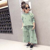 Wholesale Korean Casual Outfits - Korean Girl Dress Child Clothes Kids Clothing 2016 Spring Long Sleeve T Shirt Baggy Trousers Children Set Kids Suit Outfits Lovekiss C22759
