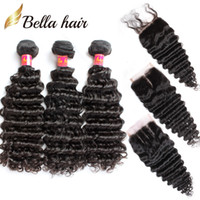 Wholesale Deep Wavy Weaving - 7A Lace Closure with Hair Bundles Brazilian Hair Weave Weft Black Color Deep Wave Wavy Human Hair Extensions Full Head Free Shipping Bella