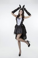 Wholesale Sexy Carnival Clothing - 2016 New Black White Bunny Girl Dress Coat Tails Uniform Temptation Sexy Cosplay Halloween Costumes Club Performance Clothing Hot Selling
