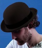 Wholesale Red Bowler - Wholesale-100% Wool Brown Bowler Hat luxury felt billycock hats for men with belt rolled brim casquette
