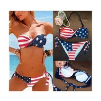Dettagli su Ladies'Sexy Bandiera americana imbottita Bandiera Americana Bikini Swimwear Beach Bathing Suit