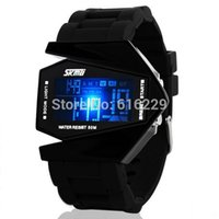 Wholesale Shaped Colorful Lights - Wholesale-Skmei 0817 Fashions Men Sports Military Watches 5 ATM Digital Airplane Shaped male Fashion LED Colorful Light Men Watch (Black)