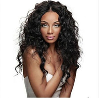 Wholesale Long Curly Natural Hair Wigs - Hot selling full lace human hair wigs brazilian human hair front lace wigs natural color 130% density with baby hair