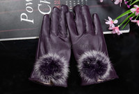 Wholesale Water Proof Rabbit - Fashion Women PU Leather Gloves Faux Rabbit Fur Five Finger Gloves Warm Water Proof Glove 4 Colors
