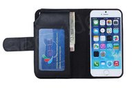 Wholesale Multi Function Id - Multi-function Credit Card Holder ID Flip Wallet Leather Case Pouch Black For Apple Iphone 6 6 Plus 4.7 5.5 Money Pocket Holster Black Cover