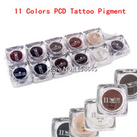 Wholesale lip inks resale online - Sets Colors Square Bottles Professional High quality PCD Permanent Makeup Tattoo Pigment Eyebrow Lip Ink Beauty Supply HOT