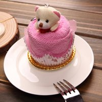 Wholesale Towel Cake Souvenir - 2016 New Lovely Teddy Bear Cake Towel 30*30cm mini towel Wedding Christmas Valentines birthday gifts Baby shower favors gift souvenirs