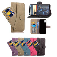 Wholesale X Photos - For iphone X 8 Plus New Fashion Nubuck Scrub Leather Wallet Flip Case Rotation Card Slots Photo Frame Stand Holder Cover for iphone 7 6s
