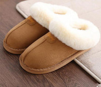 Wholesale Ladies Home Slippers - Home slippers ladies plush slippers Australian style female houses indoor men's bathroom slippers solid adult free shipping
