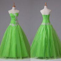 apfelgrün sexy kleider großhandel-Real Sample Apfelgrün Prom Dresses A Line Lime Korsett Lange bodenlange Spitze Appliques Günstige Qualität Quinceanera Kleid