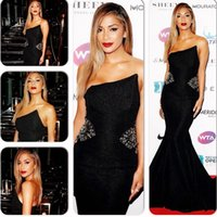 Wholesale Embellished Pageant Gowns - Crystal Bead Embellished Strapless Mermaid Black Long Formal Evening Dresses No Sleeve Prom Gowns New Arrive Pageant Dress High Quality Chic