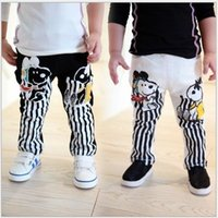 Wholesale Snoopy Clothes Baby - Small Baby Boys Girls Casual Cartoon Pants 2015 Spring Autumn Children's Cartoon Snoopy Stripe Leisure Trousers Kids Clothing 5pcs lot L735
