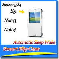 Wholesale Sgp Slim Armor For S4 - SGP Shockproof Slim Armor Hybrid Automatic Sleep Wake Smart Flip Case+IC For Samsung S5 S4 Note 3 Note 4 DHL 65pcs with package