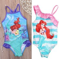 Wholesale Toddler Piece Bikini - Wholesale- Hot girls one piece little mermaid ballet swimwear bikini meisje girls bathing suits baby swimming suit toddler