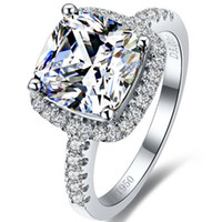 Wholesale Jewellery Ring Stone For Women - 6*6mm 1 ct Princess Cut Halo Style Cushion Wholesale Jewellery SONA Synthetic Diamond Ring For Women Sterling Silver Jewelry Fine