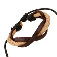 Wholesale China Wholesale Weave - Hot Sale Leather Mens Bracelets Classic Fashion Handmade woven multilayer Infinity bracelets Resizable charm bracelet Cheap jewelry gift