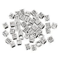 Wholesale Alphabet European Beads - European Style Charm Beads Cube Antique Silver At Random Alphabet Letter Pattern 7.0mm x 7.0mm,Hole 4.9mm,100 PCs 2015 new