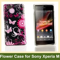 Plastic black plastic garden cover - Love Garden Butterfly Flower Print Soft Gel TPU Cover Case for Sony Xperia M C1904 C1905