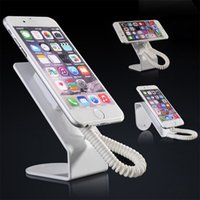 Wholesale cell phone security display holder for sale - Group buy 10pcs Metallic cell phone display stand holder for mobile phone security display system anti theft retail shop with retractable pull wire