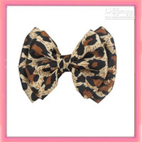 Wholesale New leopard printed satin hair bow hair alligator clip
