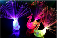 Wholesale Peacock Rings - 2017 new style 3 col LED Flashing Peacock Fiber Optic Finger Lights Rings for Raves or Party Favor