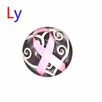 Wholesale Wholesale Plastic Heart Beads - Hot Sale Snap Jewelry Button For Bracelet Necklace 2016 Fashion DIY Jewelry Metal Snaps Pink Ribbon Breast Heart Buttons AC020