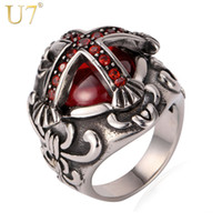 Wholesale Maltese Crosses - U7 Maltese Cross Statement Band Ring New Stainless Steel With Gift Box Fashion Men Jewelry Punk Hip Pop 7-GR812