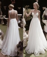 Wholesale Lace Plunging Sexy Wedding Dress - 2016 New Summer Spring Sexy Back Lace Wedding Dress Plunging V-neck Appliques A Line Hollow Back Tulle Beach Bridal Gown
