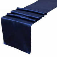 Wholesale Navy Satin Table Runner - 5 Navy Blue Satin Table Runner Wedding Cloth Runners Holiday Favor Party Decorations -RUN