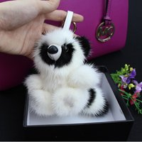 Wholesale Recording Bear Toy - Christmas gift Fur monster pendant of bags Plush toy bear Keychain Plush car jewelry pendant Real Mink fur Fashion keychain