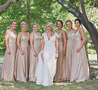 Wholesale sparkly top dress for sale - Group buy 2018 V Neck Bridesmaid Dresses Plus Size Champagne Sparkly Maid of Honor Bridal Wedding Party Gowns Maternity Sequins Top Vintage
