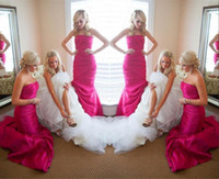 Wholesale Taffeta Purple Bridesmaid Dress Bridal - Fuchsia Strapless Long Bridesmaid Dresses For Wedding 2015 Taffeta Ruffles Sweep Train Bridesmaid Gowns Sexy Backless Bridal Formal Dresses