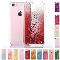 Fashion Transparent Fun Glitter Love Heart Star Quicksand Liquid Cover posteriore per iPhone 7 6 6s plus Samsung S6 bordo S7 S7