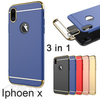 Wholesale Hard I Phone Cases - 3 in 1 Electroplate PC Hard Phone Case For iphone x i phone 7 Plus iphpne 6s Plus Cellphone Case