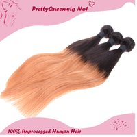 Peruvian Hair Two Tone # 1B 27 Ombre Color Cabello humano recto Un paquete de tres tramas de cabello Extensiones de cabello Unprocessed Remy Virgin Hair 5A