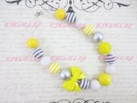 sarı tıknaz kolye toptan satış-Gri ve Sarı Çocuk Chunky Kolye, Bow, Çocuklar, Boncuklu Gumball, Çocuk Kız Kolye CB168