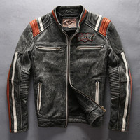 Wholesale Avirex Leather Jackets - 2017 Avirex fly leather jackets American customs motor spirit Indian head Embroidery vintage motorcycle jackets