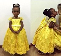 Wholesale Traditional Christmas Dress - 2016 African Traditional Flower Girls Dresses A Line Cap Sleeves Lace Appliques Ankle Length Birthday Wedding Party Formal Gowns BO9377