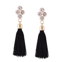 Wholesale Wholesale Silk Thread - Bohe Crystal Long Tassels Drop Earring Statement Luxury Silk Thread Ethnic Red Blue Elegant Earrings For Women Gift Statement Jewelry Gift