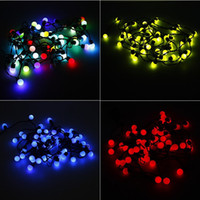 Wholesale Orange Led Net Lights - Christmas led Light outdoor 5meter 50 LED String Lights RGB balls Round lamps waterproof for Garden Wedding Xmas Decoration lights