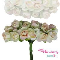 Wholesale Wedding Mini Paper Roses - Wholesale- 1cm 144pcs lot Limited Free Shipping Paper Flower Scrapbooking Artificial Flowers Decoration Mini Fake Rose Wedding Corsage