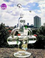ferramenta de óleo de reciclagem de unha de titânio venda por atacado-Tubulações de água de vidro 30cm Fumar Tubulações de água plataformas de petróleo Duas funções dupla gaiola circular 14,4 mm Conjunta com titânio Reciclador de prego de vidro