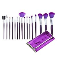Makeup Brushes 16pcs Synthetic Hair 16Pcs Makeup Brushes Set With Bag Purple Wooden Handle Goat Hair Foundation Powder Lip Blush Eyelash Eyebrow Cosmetic Brush